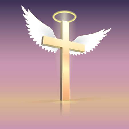 Angel vleugels nimbus en cross. Christelijk kruis met geestelijk licht