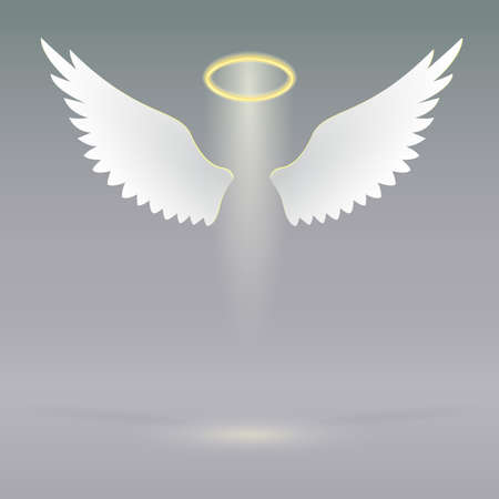 Angel wings and golden halo, futuristic background, angel design elements Vector