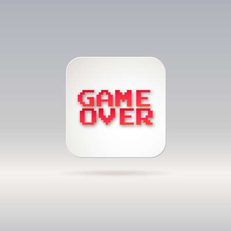 over: Lettering, game over, icon, white button with shadow. Vector illustration. Illustration