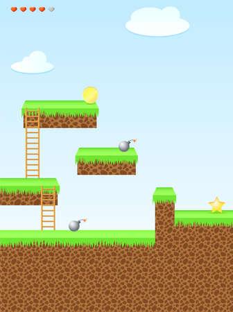 Arcade game wereld, ster, bom, munt, trappen