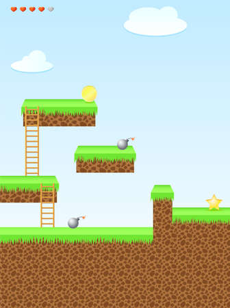 Arcade game world, star, bomb, coin, stairs