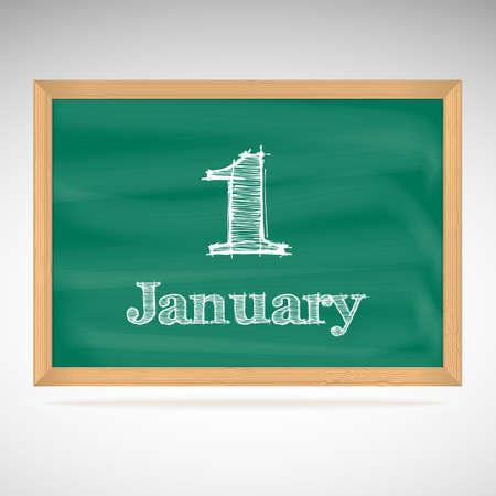 january 1: January 1, inscription in chalk on a blackboard, school board