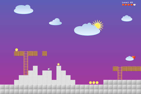 8-bit video game location, arcade games, star, bomb, coin, stairs