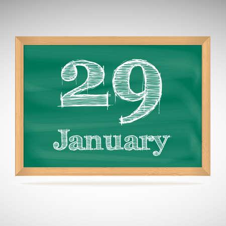 January 29, inscription in chalk on a blackboard, school board Vector