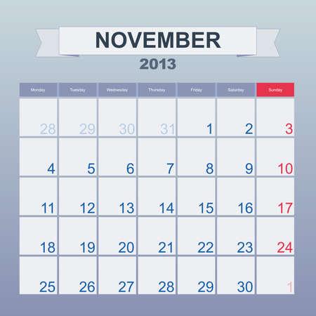 Calendar to schedule monthly. November 2013 Vector