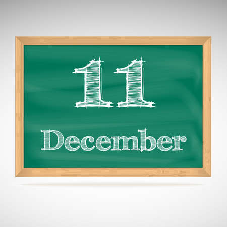 December 11, day calendar, school board, date Vector