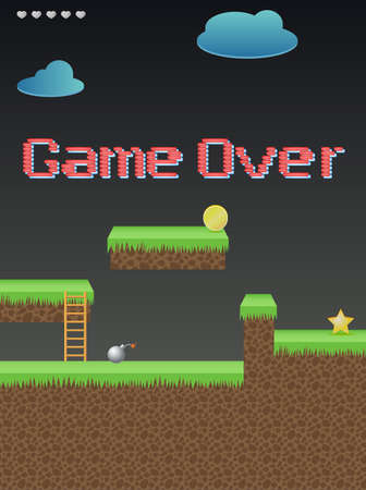 Lettering, game over on the background of the game Vector