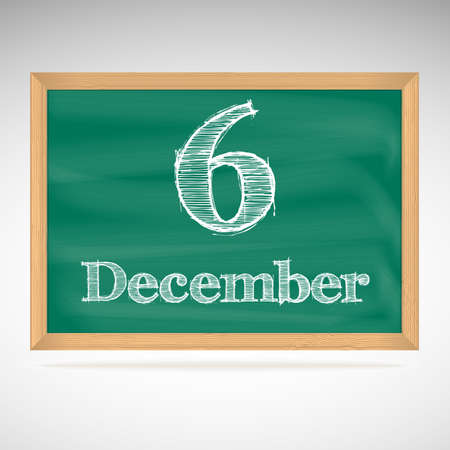 December 6, day calendar, school board, date Vector