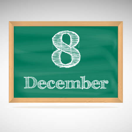 December 8, day calendar, school board, date Vector