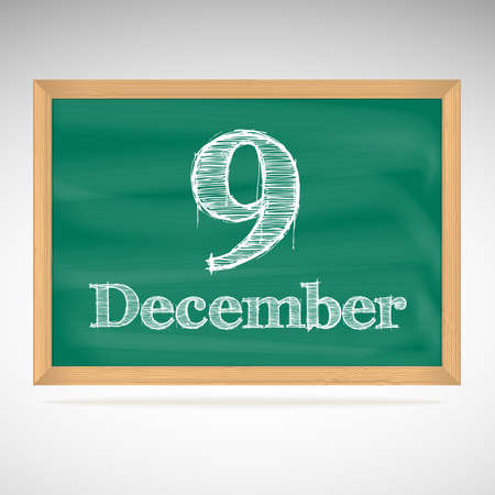 December 9, day calendar, school board, date Vector