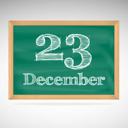 December 23, day calendar, school board, date Vector