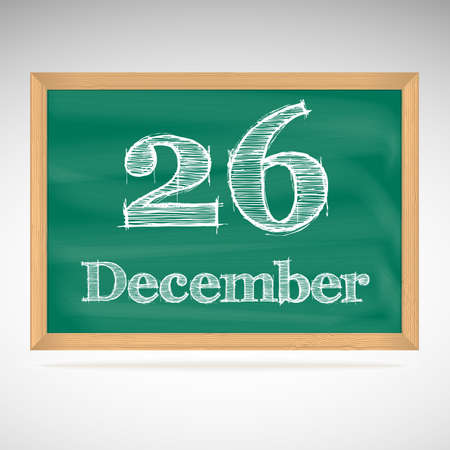 December 26, day calendar, school board, date Vector