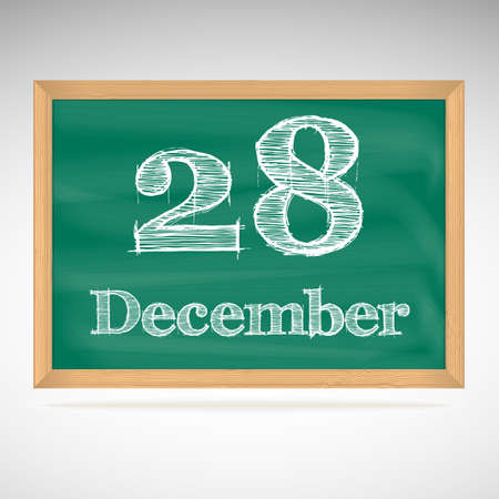 December 28, day calendar, school board, date Vector