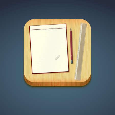 Mobile app icon - pencil, wood board, notebook, ruler. Vector