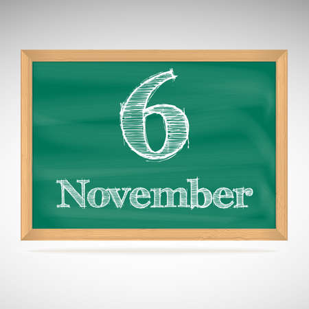 November 6, day calendar, school board, date Vector