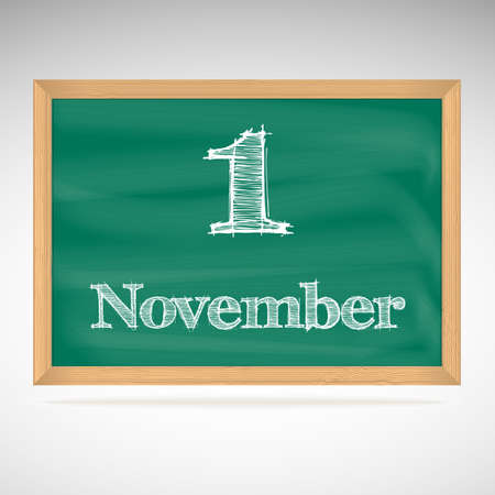 November 1, day calendar, school board, date Vector