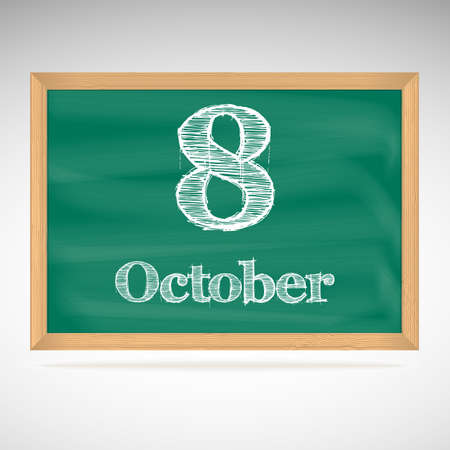 October 8, day calendar, school board, date Vector