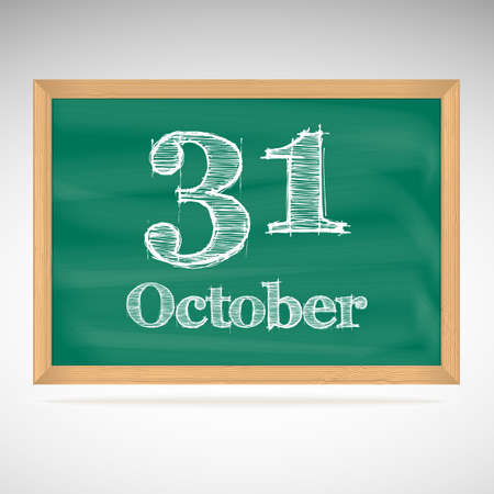 October 31, day calendar, school board, date Vector