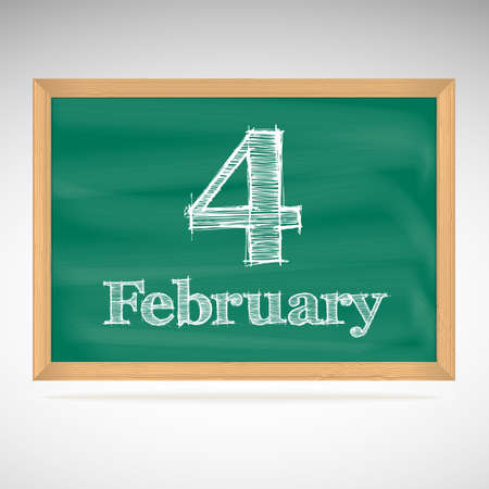 February 4, day calendar, school board, date Vector