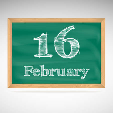 February 16, day calendar, school board, date Vector