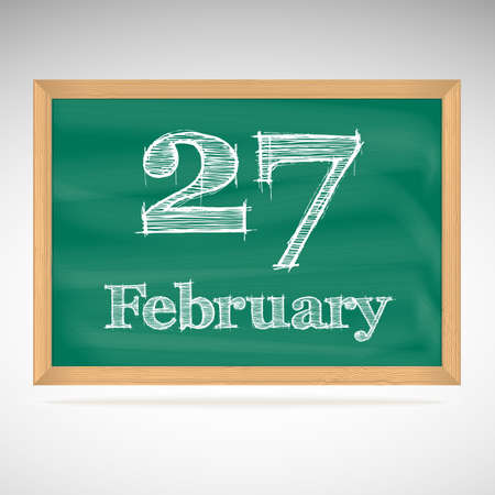 February 27, day calendar, school board, date Vector