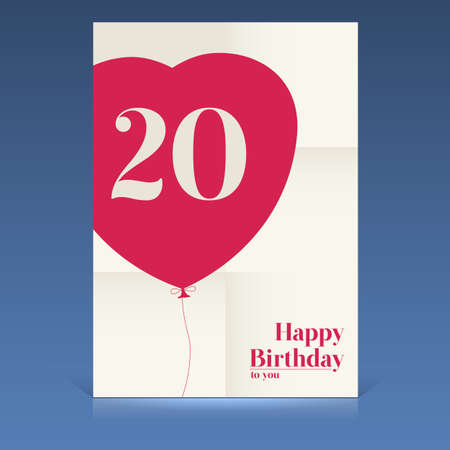 Happy birthday poster, twenty yeas old, greeting card. Vector