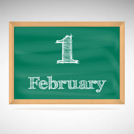 February 1, day calendar, school board, date Vector
