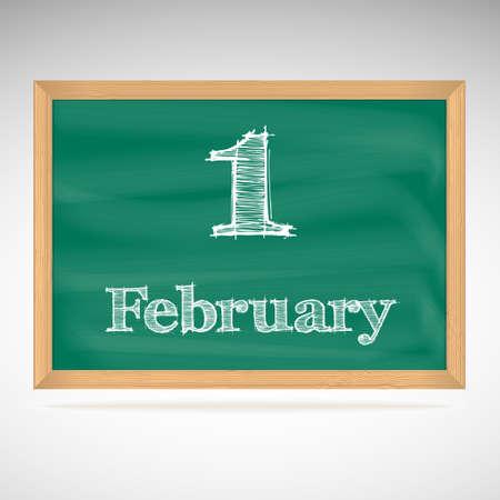 february 1: February 1, day calendar, school board, date