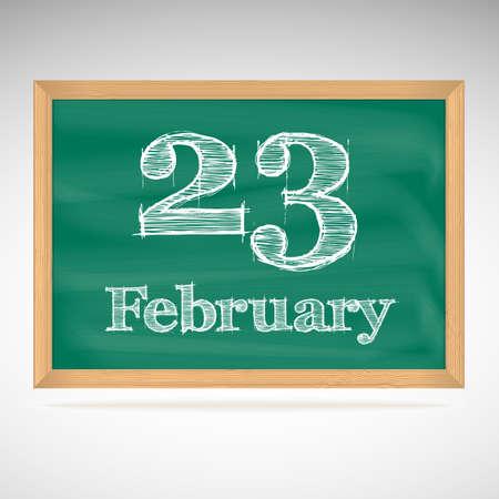 23: February 23, day calendar, school board, date