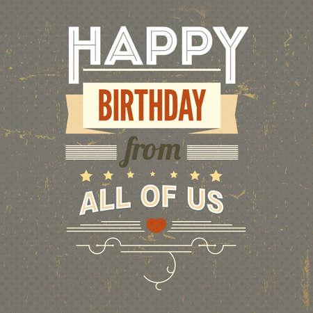 Happy Birthday, typography, vintage poster, grunge