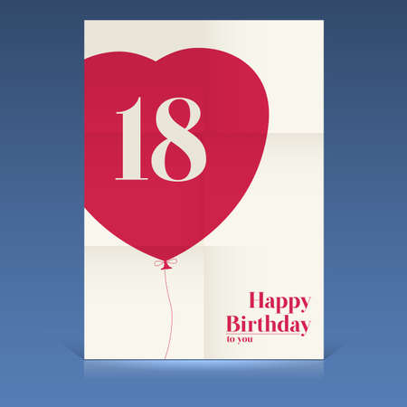 Happy birthday poster,eighteen yeas old, greeting card. Illustration