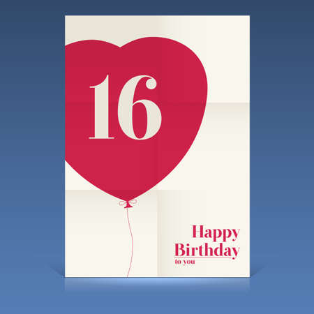 Happy birthday poster,sixteen yeas old, greeting card. Vector