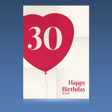 Happy birthday poster,thirty yeas old, greeting card. Vector