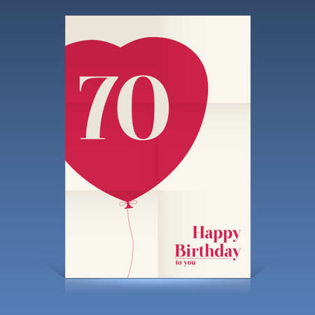 Happy birthday poster,seventy yeas old, greeting card. Illustration