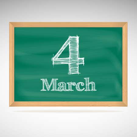 March 4, day calendar, school board, date