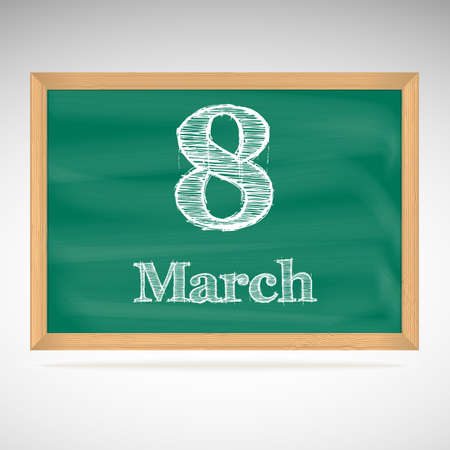 March 8, day calendar, school board, date Vector