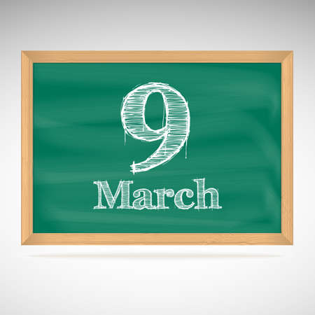 March 9, day calendar, school board, date Vector