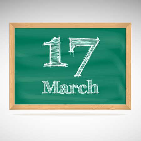 march 17: March 17, day calendar, school board, date Illustration