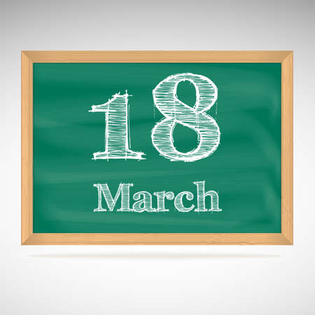 March 18, day calendar, school board, date Vector
