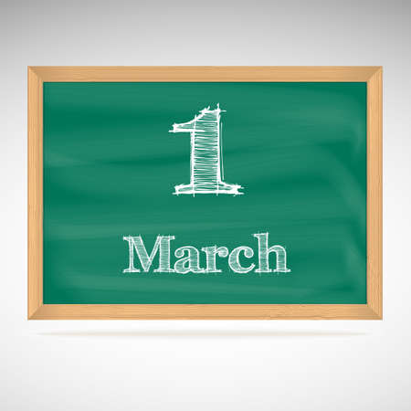 March 1, day calendar, school board, date Vector