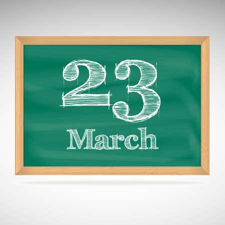 23: March 23, day calendar, school board, date
