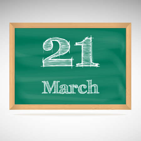 March 21, day calendar, school board, date Vector