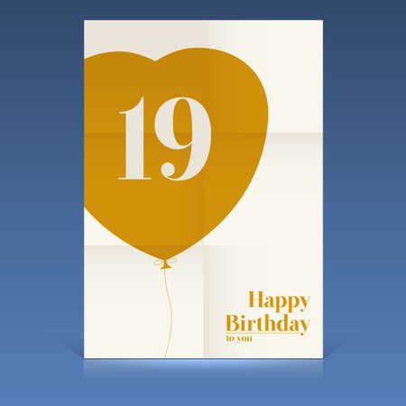 Happy birthday poster, nineteen yeas old, greeting card. Vector