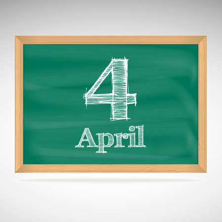 April 4, day calendar, school board, date Vector