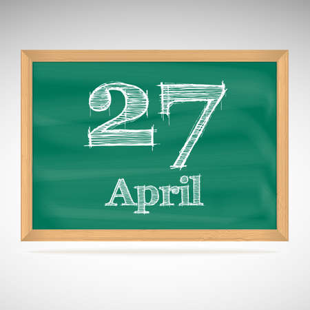 April 27, day calendar, school board, date Vector