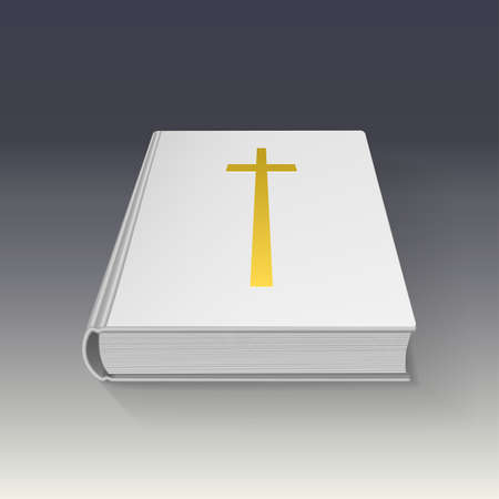 gold cross: Book with gold cross, vector illustration