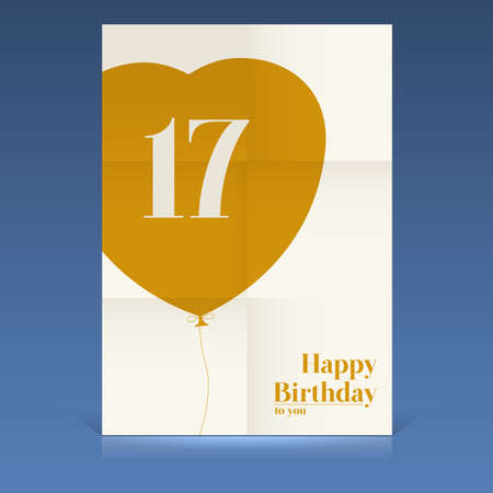 Happy birthday poster, seventeen yeas old, greeting card. Illustration