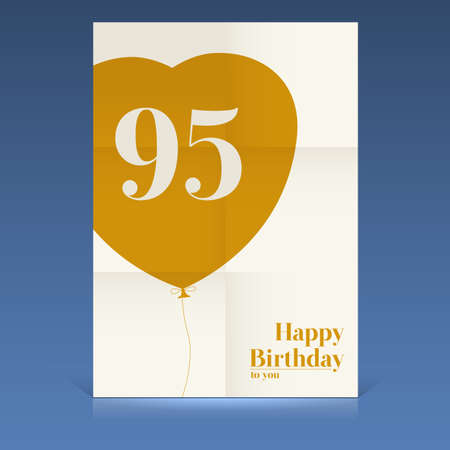 ninety: Happy birthday poster, ninety five yeas old, greeting card.