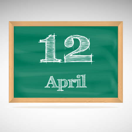April 12, day calendar, school board, date Vector