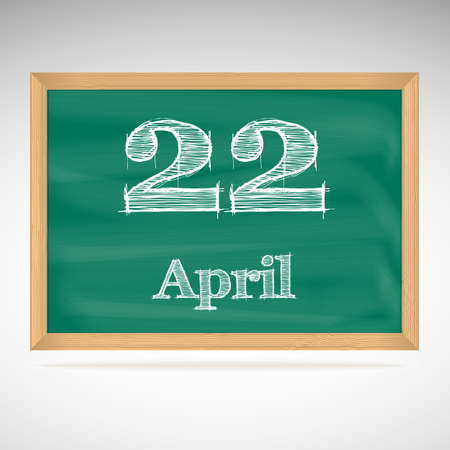 April 22, day calendar, school board, date Vector